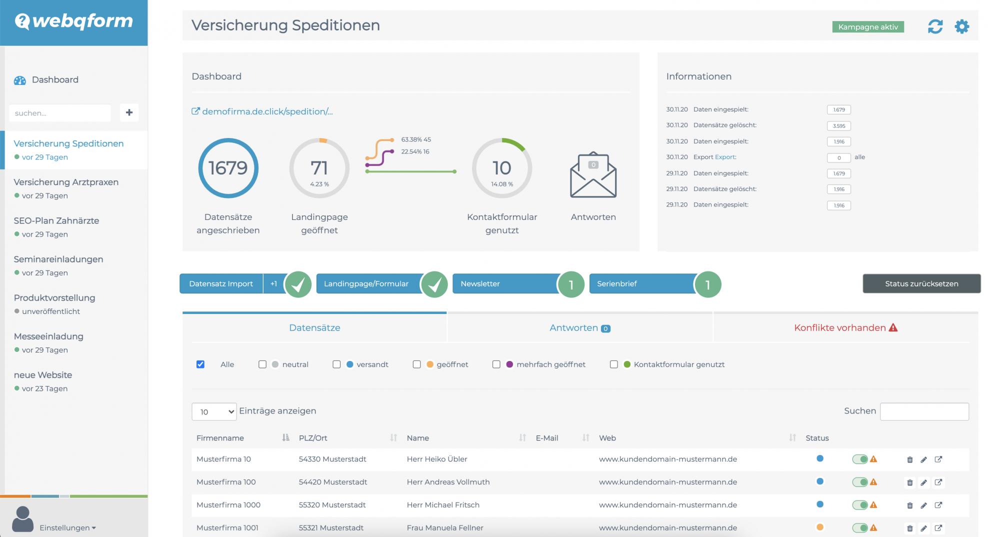 Übersicht Dashboard webqform