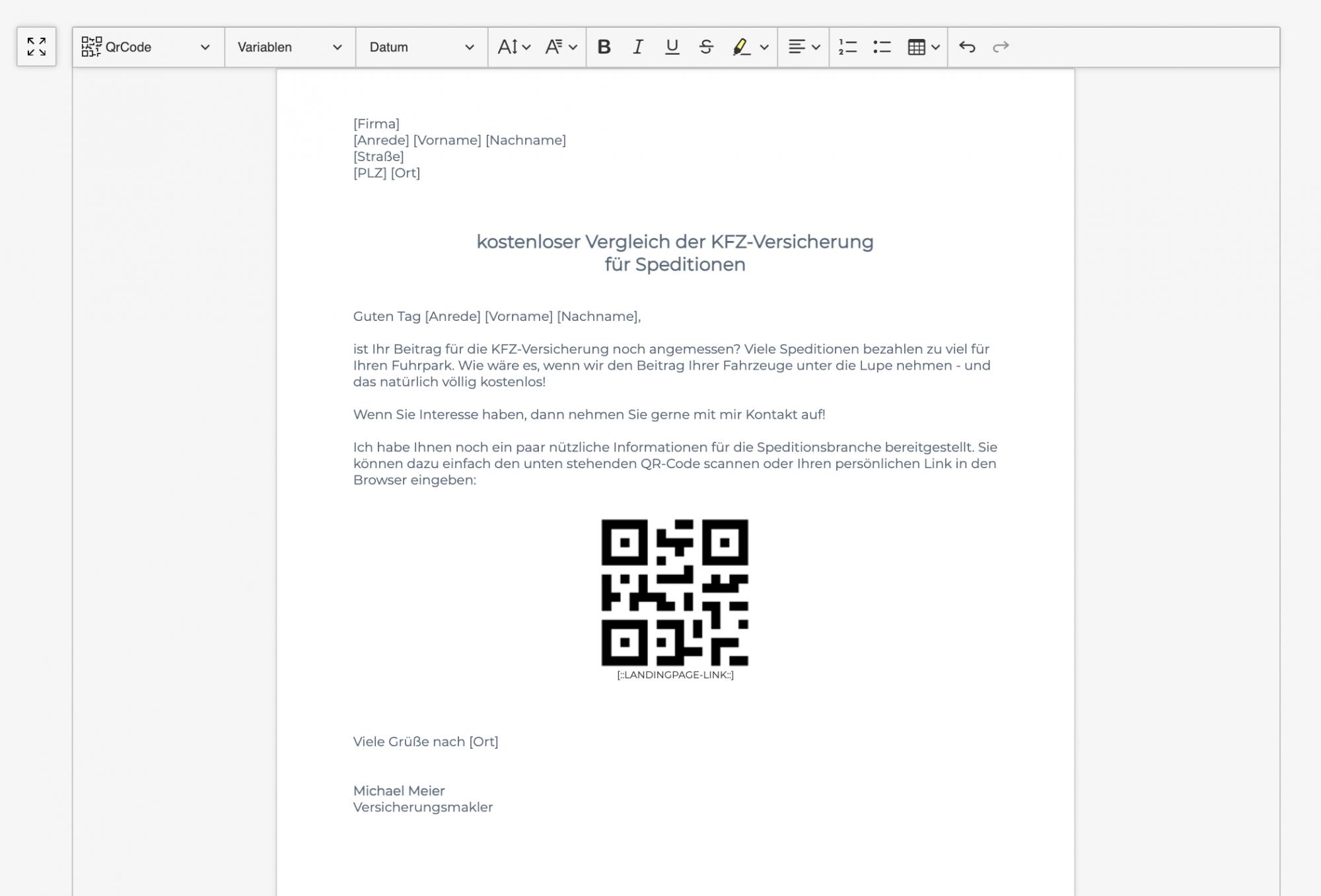 Serienbrief-Generierung mit QR-Code